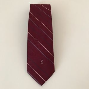 YSL Yves Saint Laurent classic red stripe tie